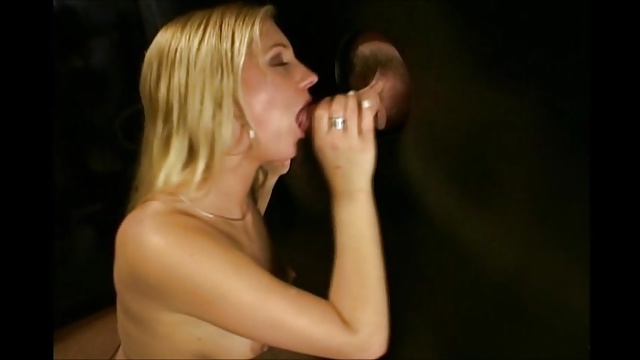 Blonde Whore Sucks Cock at the Glory hole