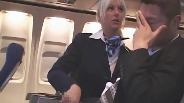 Hot Handjob from sexy Stewardess