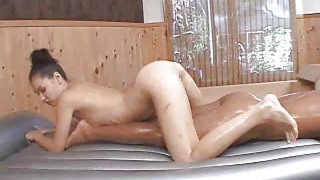 Oil rubbing Asian massage