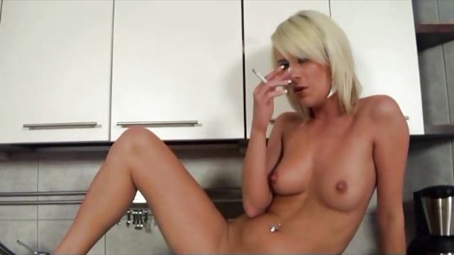 Smoking blondes in the kitchen