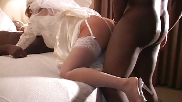 White Bride Fucked by 2 BBC on Wedding Night – Cuckold